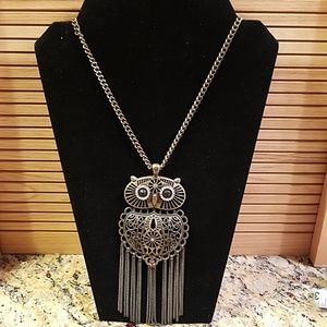"Large owl w rhinestones necklace 24"" GUC"